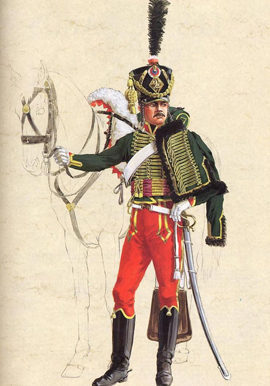 Center company of the 7e Hussards, parade dress