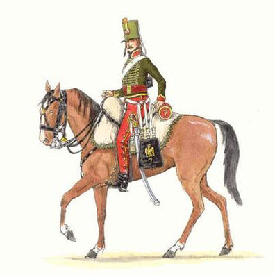 Center company of the 7e Hussards, summer campaign dress (1815).